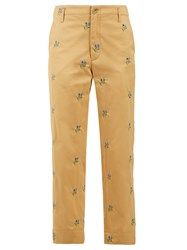 Golden Goose Floral Embroidered Straight Leg Twill Trousers Beige Multi