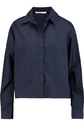 10 Crosby By Derek Lam Chiffon Paneled Cotton Poplin Shirt Blue