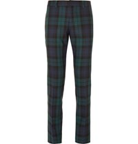 Gucci Slim Fit Checked Wool Trousers Navy