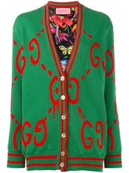 Reversible Guccighost Logo Cardigan Green