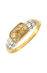 Louise Et Cie Stone Cluster Hinged Bangle Gold Citron Crystal