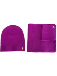 Polo Ralph Lauren Embroidered Logo Scarf And Beanie Set Pink And Purple