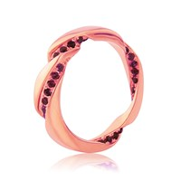 Maiko Nagayama Twist Rose Gold Vermeil Ring With Garnet Red Rose Gold Silver