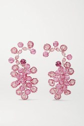 Magda Butrym Silver Tone And Crystal Earrings Pink