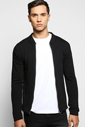 Boohoo Neck Line Zip Front Cardigan Black