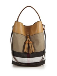 Burberry Medium House Check Cotton And Leather Bucket Bag Saddle Brown