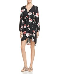 Band Of Gypsies Floral Faux Wrap Dress Black Rose