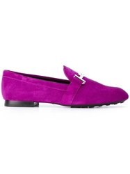 Tod's Buckled Slippers Pink Purple
