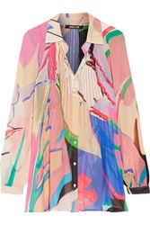 Roberto Cavalli Pintucked Printed Silk Chiffon Shirt Multi