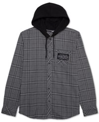 Jem Men's Star Wars Plaid Flannel Hoodie Grey Black