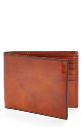 Men's Bosca Id Flap Leather Wallet Brown Amber