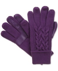 Isotoner Signature Touchscreen Enabled Solid Triple Cable Knit Palm Gloves