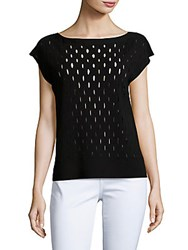 Lafayette 148 New York Decoupe Boatneck Cap Sleeve Top Black