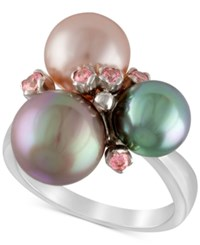 Majorica Sterling Silver Pink Cubic Zirconia And Colored Imitation Pearl Ring Multi