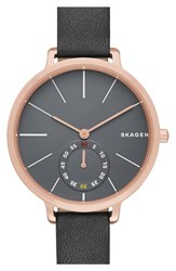Women's Skagen 'Hagen' Leather Strap Watch 34Mm Grey Rose Gold