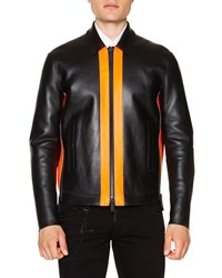 Dsquared Leather Zip Up Jacket With Contrast Panels Black Orange