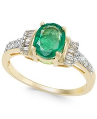 Macy's Emerald 1 1 3 Ct. T.W. And Diamond 1 4 Ct. T.W. Ring In 14K Gold Yellow Gold
