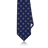 Fairfax Men's Square Print Silk Necktie Blue