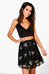 Boohoo Alala Embroidered Sequin Skater Skirt Black