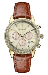 Ingersoll Watches Women's Crystal Accent Chronograph Leather Strap Watch 35Mm Tan Gold