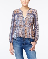 American Rag Printed Pintucked Crochet Trim Top Only At Macy's Indigo Combo