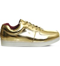 Irregular Choice State Of Flux Light Up Leather Trainers Metallic Gold Red