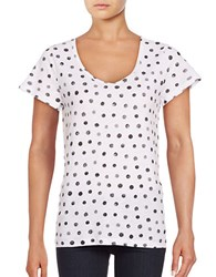 Lord And Taylor Petite Polka Dot Cotton T Shirt Black Dot