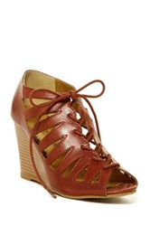 Rampage Kellsor Lace Up Wedge Sandal Brown