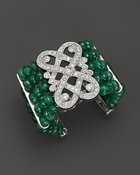 Bloomingdale's Beaded Emerald And Diamond Art Deco Ring In 14K White Gold