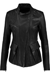 Donna Karan New York Leather Biker Jacket Black