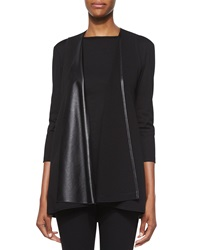 Lafayette 148 New York Punto Milano Faux Leather Vest Black
