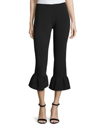 Elizabeth And James Cleo Flare Hem Cropped Pants Black