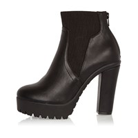 River Island Womens Black Chunky Heeled Chelsea Boots