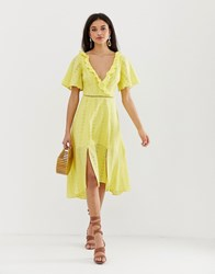 Finders Keepers Sundays Broderie Midi Dress Yellow