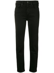 7 For All Mankind Cropped Slim Fit Denim Trousers Black