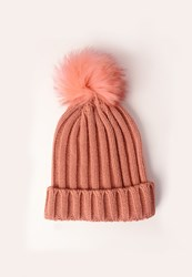 Missguided Faux Fur Pom Pom Beanie Hat Pink