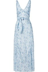 Loveshackfancy Kendall Floral Print Silk Satin Maxi Dress Blue