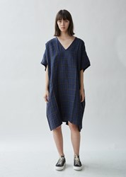 6397 Checked Linen Kaftan Blue Plaid
