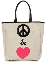 Moschino Cheap And Chic Peace Love Tote Bag Neutrals