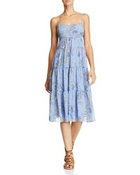 Aqua Paisley Tiered Midi Dress Blue