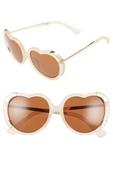 Women's A.J. Morgan 'Heartstomper' 58Mm Heart Shaped Sunglasses Champagne