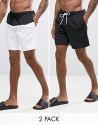 Asos Swim Shorts 2 Pack In Monochrome In Mid Length Save Monochrome Multi