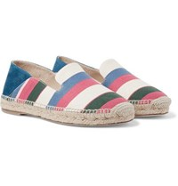 Loewe Collapsible Heel Striped Canvas And Suede Espadrilles Multi