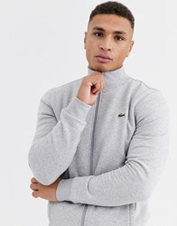 Lacoste Sport Zip Through Funnel Neck Sweat In Grey