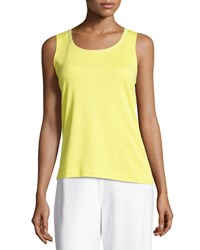Joan Vass Scoop Neck Cotton Interlock Tunic Tank Plus Size Lime