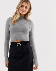 Hollister High Neck Jumper With Wrap Detail Grey