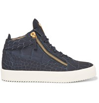 Giuseppe Zanotti Croc Effect Leather High Top Sneakers Blue