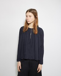 Pas De Calais Gathered Cotton Blouse Navy