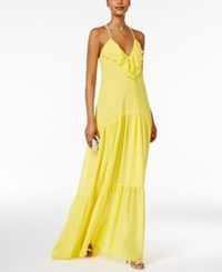 Msk Ruffled Halter Gown Bright Yellow