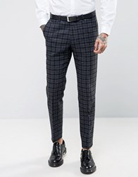 Noose And Monkey Woven In England 100 Wool Overcheck Suit Trousers In Skinny Fit Grey